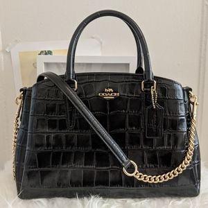 Coach crocodile embossed leather bag